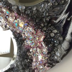 Recycling Project – Part 2 – Recycling the Foil from Old DVDs | Sue Findlay Designs Resin Crafts, Resin Art, Painting Activities, Round Mirrors, Medium Art, Art Tutorials, Mixed Media Art, Recycling, Artwork