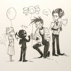 Wes loves the precious children. Wilson doesn't trust the creepy children. Creepy Kids, Creepy Children, Doodle On Photo, Otp Prompts, Wilson Art, Fandoms, Short Comics, Precious Children, Ship Art