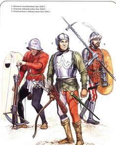 Italian troops of the late 15th Century. L to R; Siennese crossbowman, Venetian colonial archer & Venetian heavy infantryman.