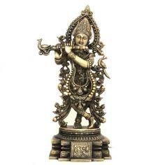 Amazon.com: Arts Asian Statues Lord Krishna Hindu God Religious Brass Sculpture: Home & Kitchen