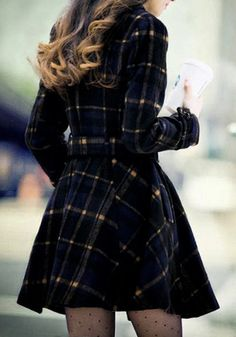 Plaid Faux Wool Coat- Features Blue and Yellow Tartan Exterior