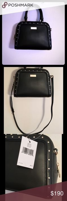 Kate Spade Small Rocki Helena Street - Black Never used still with tags Authentic Kate Spade Gold toned hardware Leather satchel Detachable, adjustable strap Dual handles 11.3 x 9.4 x 4.2  Interior has 1 slip pocket kate spade Bags Crossbody Bags