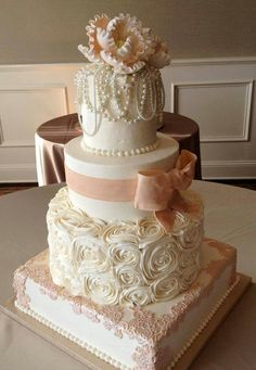Vintage Wedding Ideas - Other+/+Mixed+Shaped+Wedding+Cakes+-+Buttercream+with+fondant+bow+and+lace+and+real+pearl+necklaces Beautiful Wedding Cakes, Gorgeous Cakes, Pretty Cakes, Amazing Cakes, Elegant Wedding, Bow Wedding, Rustic Wedding, Cake Wedding, Trendy Wedding
