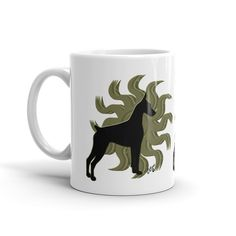 $16.00 Doberman Pinscher Mug Doberman Pinscher Mug, Art created by Artist Cecilia, Unique art like all of my items, this art resembles the Spirit of the Sun in the Doberman come visit our store at www.southernwind-designs.com