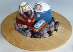 Wooden Plate + Smooth Stones + Painted Rock Nativity = Year-Round Display Using Natural Elements (nativity sets / nativity scene figures)