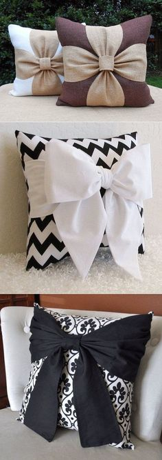 Wonderful Mesmerizing Sewing Ideas for All. Awe Inspiring Wonderful Mesmerizing Sewing Ideas for All. Bow Pillows, Sewing Pillows, Throw Pillow, Home Crafts, Diy Home Decor, Diy And Crafts, Sewing Crafts, Sewing Projects, Pillow Crafts