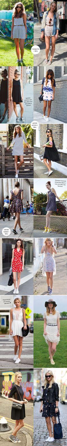 Inspiração como usar macaquinha / vestido + tênis