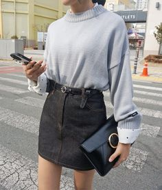 No more workweek blues with these chic city girl denim skirt and top! #denimskirtoutif