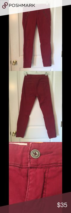 Skinny Red Chinos by Pilcro from Anthropologie Great skinny cut chinos by Pilcro and the Letterpress from Anthropologie. Deep burgundy with zipper pockets on front and zippers on leg. Very flattering pants!  Let me know if you have any questions. Anthropologie Pants Skinny
