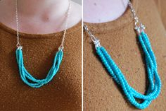 DIY multi-strand beaded necklace- heavy twine, chain, bead tips, jump rings, beads