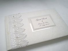 """Luxury Boxed & Personalised Wedding Vintage """"Guipure Lace"""" Guest Book (Standard A5 6""""x9""""): Amazon £26"""