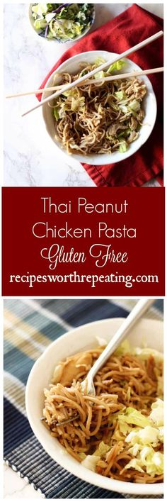 This healthy version of Thai Peanut Chicken Pasta uses a healthier noodle, contains higher levels of protein, peanut butter and cabbage!: