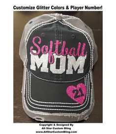 Glitter Softball Mom Hat, Softball Mom Distressed Hat, Mom Softball Hat, Custom Softball Hat, Personalized Softball Mom Hat by AllStarCustomBling on Etsy https://www.etsy.com/listing/269012910/glitter-softball-mom-hat-softball-mom