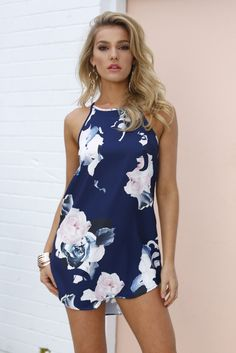Julia Claire Shift Dress (Pink/Blue Floral) | Xenia Boutique | Women's fashion for Less - Fast Shipping