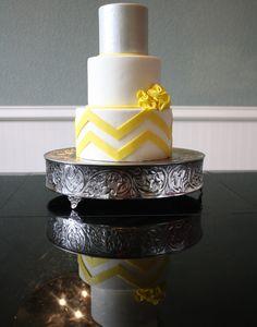 Chevron Wedding Cake, Yellow and Grey Wedding cake.