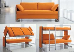 Convertible Futon Bunk Bed   This is very practical sofa-to-bed furniture transformer which allows you to turn your living room into sleeping room with at least two places for sleeping. With just a few quick adjustments, the futon easily transforms into a fully functional bunk bed which will save you lots of space in any room of the house.