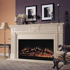 Birmingham Electric Fireplace | Marble Cabinet Mantel
