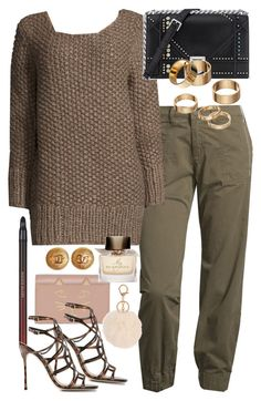 """""""Untitled #6094"""" by ashley-r0se-xo ❤ liked on Polyvore featuring J Brand, Michael Kors, Apt. 9, Charlotte Olympia, Burberry, Kevyn Aucoin, Chanel and Sergio Rossi"""