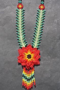 XL Huichol PEYOTE collier de fleurs MEXICAIN ethniques indigènes Nierika BIJOUX ART POPULAIRE