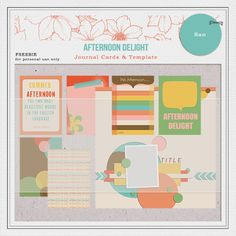 Free Afternoon Delight Journal Cards and Template