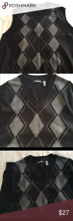 BIG & TALL 2XL BLK & GRAY ARGYLE WOOL SWEATER VEST BIG & TALL DESIGNER CLAIBORNE 2XLT BLK & GRAY ARGYLE 💯 COTTON SWEATER VEST.     THIS 2XLT SWEATER VEST IS A HANDSOME COORDINATE FOR MENSWEAR. IT IS A 2XLT, ANOTHER HARD TO FIND SIZE THAT COMPLIMENTS OUR FINE BIG MEN🎉🎊 EXCELLENT🎁. ONLY THE BEST IN 2017🙏 Claiborne Sweaters V-Neck