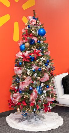 parish christmas tree theme ideas deck the halls with red white blue - Red White And Blue Decorated Christmas Tree