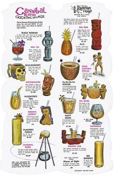 Ren Clark's Polynesian Village Cocktail menu, 1962