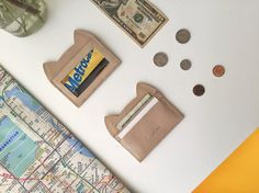 This adorable bussiness card holder in nude leather gives you handy access to credit cards by ChatonNoirBoutique
