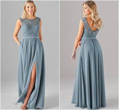Embroidered lace is the newest trend! We love it in slate blue | Kennedy Blue bridesmaid dress Jade is featured in slate blue