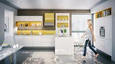 De gele kleur in de kasten en op de spatwand zorgen voor vrolijkheid en warmte. #keuken