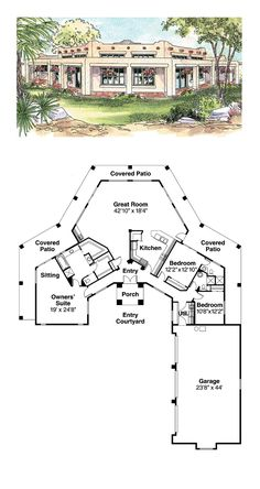 Adobe style cool house plan id chp 49288 total living for Cost to build adobe home
