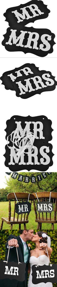 Pixnor MR MRS Chair Bunting Banner Garland Wedding Photo Props Decoration