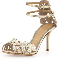Charlotte Olympia Margherita Metallic Ankle-Strap Sandal on shopstyle.com