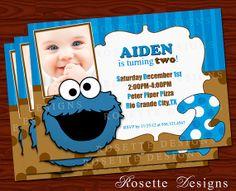 Sesame Street  COOKIE MONSTER invitation  by RosetteDesigns, $7.50