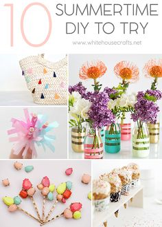 10 summertime DIYs to try from whitehouse crafts dot net New Crafts, Summer Crafts, Craft Projects, Projects To Try, Craft Ideas, Home Management, Diy Tutorial, Summertime, Table Decorations