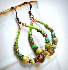 spice islands copper beaded hoop earrings, copper earrings, gypsy, bohemian