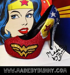 Wonder Woman Sparkly Glitter Heels with Crystal Rhinestones from MADE BY BUNNY Shoes to wear with my dress. I'll make them myself and gift the bridesmaids their super shero shoes as well. Wonder Woman Shoes, Wonder Woman Outfit, Wander Woman, Glitter Heels, Glitter Makeup, Glitter Toms, Glitter Slides, Sparkly Shoes, Dc Comics Superheroes