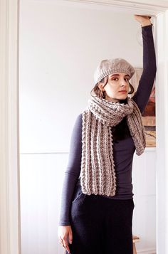 Image of Aiki seeded rib chunky hand knit scarf of Peruvian wool (shownin fawn - more colours)