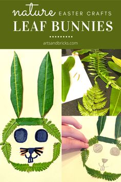 Use leafs and ferns to make your own spring bunny or rabbit craft. Nature Easter Crafts // Leaf Bunnies // Arts and Bricks Rabbit Crafts, Bunny Crafts, Easter Crafts, Cute Easter Bunny, Easter Art, Spring Crafts For Kids, Art For Kids, Toddler Crafts, Kids Crafts