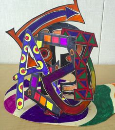 Drawing Design Name Sculpture The first project I had my students do was a name sculpture. This was the inspiration for the project (scro. Sculpture Lessons, Sculpture Projects, Sculpture Art, Sculptures, Graffiti Art, Graffiti Names, Name Art Projects, Middle School Art Projects, 8th Grade Art