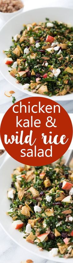 Chicken Kale & Wild Rice Salad! A healthy and delicious salad full of…