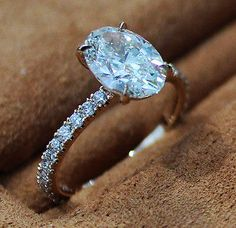 1.30 Ct. Natural Oval Cut Pave Diamond Engagement Ring - GIA Certified