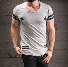 Men's T-Shirt Street Fashion Star Printed Oversized Wide Neck Slim Fit 1847 | eBay