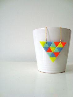 neon clay triangle necklace