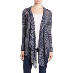 Dkny Jeans Placed-Stitch Cardigan Sweater (110 AUD) ❤ liked on Polyvore featuring tops, cardigans, indigo, long sleeve cardigan, drapey tops, draped open front cardigan, drapey cardigan y drape top