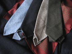 putthison:  The Wool Herringbone I remember having this mid-grey, wool herringbone tie by Thom Browne when I was in my mid-20s. It was lightly lined, untipped, and featured handrolled edges. I wore it with everything back then - brown tweeds, navy sport coats, and a charcoal double windowpane jacket that I inherited from my father. It was one of my favorite ties, until it got ruined in a greasy lunch accident.  Wool herringbones ties are still some of my favorites, especially for winter…
