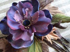 Купить Цветочное колье (как у Dris van Noten) - тёмно-синий, коричневый, прошлогодние листья