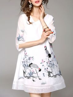 White A-line Polyester Casual V Neck Midi Dress
