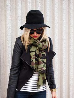 camo scarf, stripe shirt