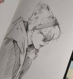 Kpop Drawings, Pencil Art Drawings, Drawing Sketches, Jimin Fanart, Kpop Fanart, Aesthetic Drawing, Fan Art, Bts Chibi, Korean Art